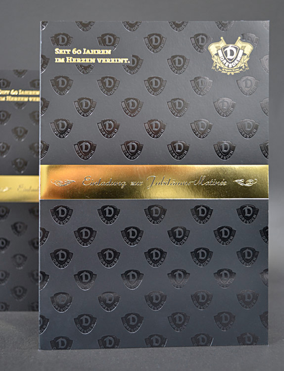 Einladungskarte Dynamo Dresden mit Heissfolienprägung
