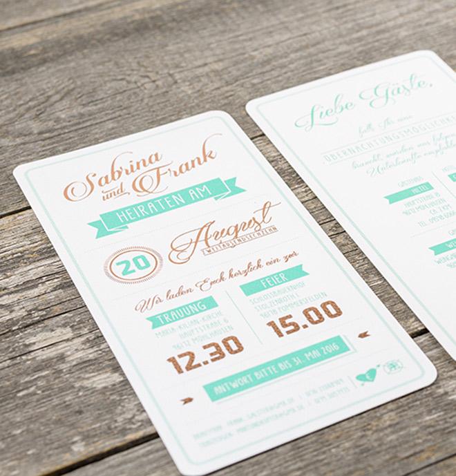 Vintage Einladungskarte mit Heißfolienprägung Kupfer