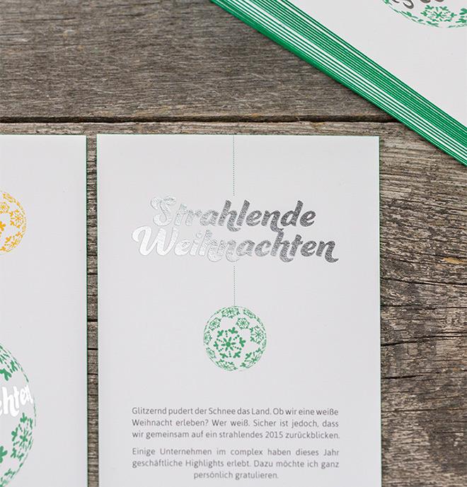 Weihnachtskarte auf Multiloft und grünem Farbschnitt