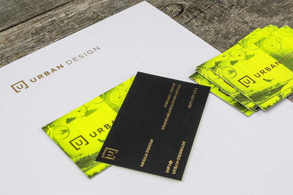 Druckveredelte Visitenkarten & Briefbögen URBAN DESIGN