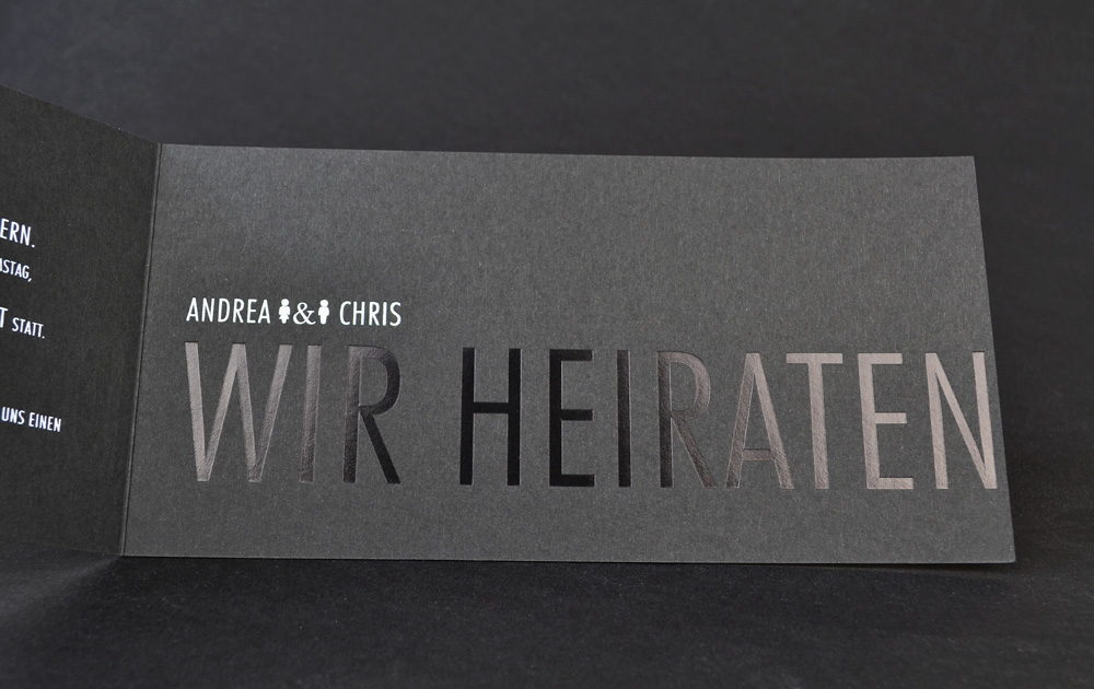 Hochzeitskarten Einladungskarten Mit Heissfolienpragung Weiss Und